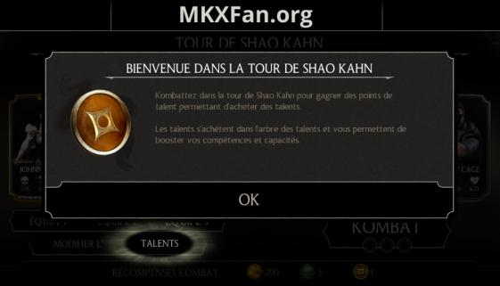 Tour de Shao Kahn et points de talents