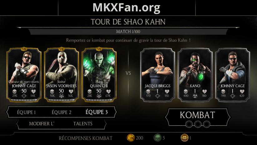 Tour de Shao Kahn : match 1/100