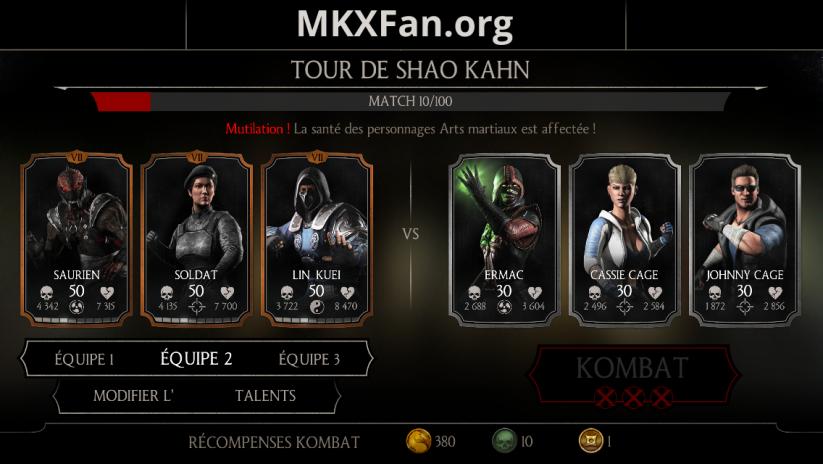 Tour de Shao Kahn : match 10/100