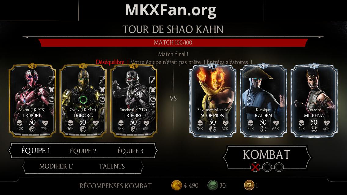 Tour de Shao Kahn : match 100/100