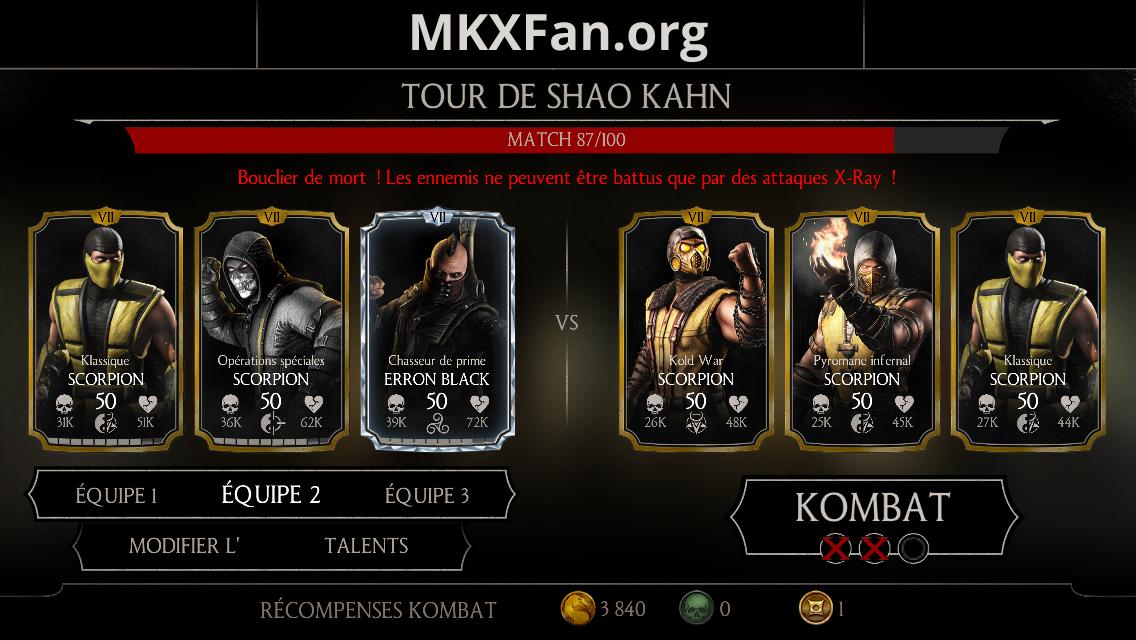 Tour de Shao Kahn : match 87/100