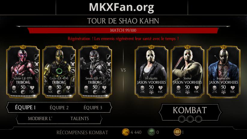 Tour de Shao Kahn : match 99/100