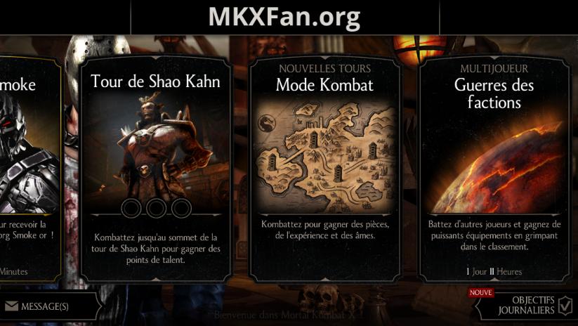 Tour de Shao Kahn : menu principal