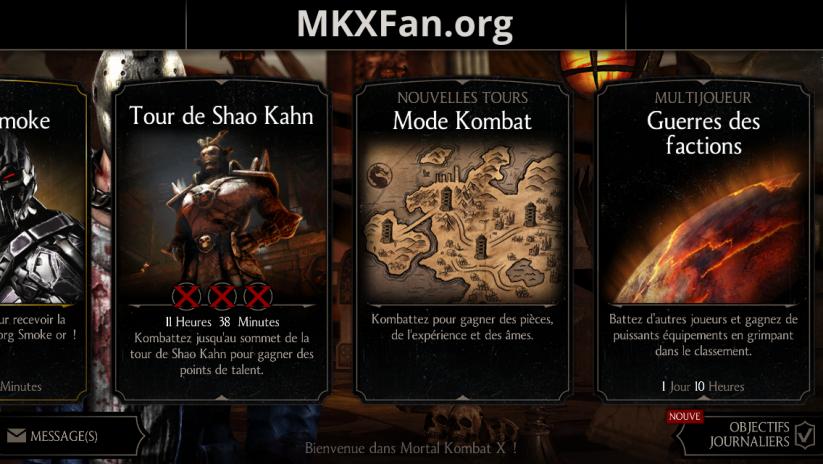 Tour de Shao Kahn : décompte dans le menu principal