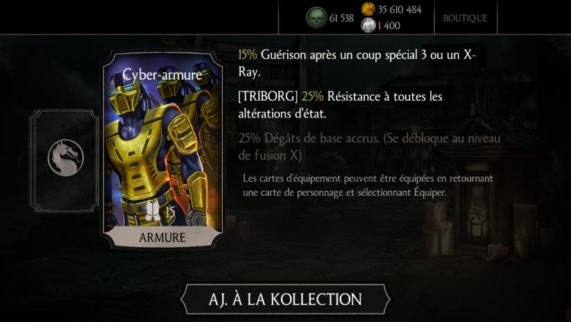 Cyber-armure, équipement spécial de Triborg : niveau initial