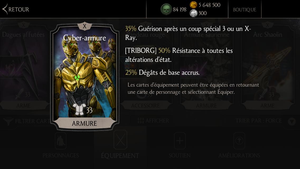Cyber-armure, équipement spécial de Triborg : fusion X