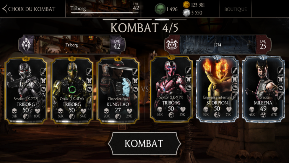 1234, cheater sur MKX Mobile